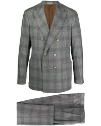 Traje de lana de tartán gris de Brunello Cucinelli