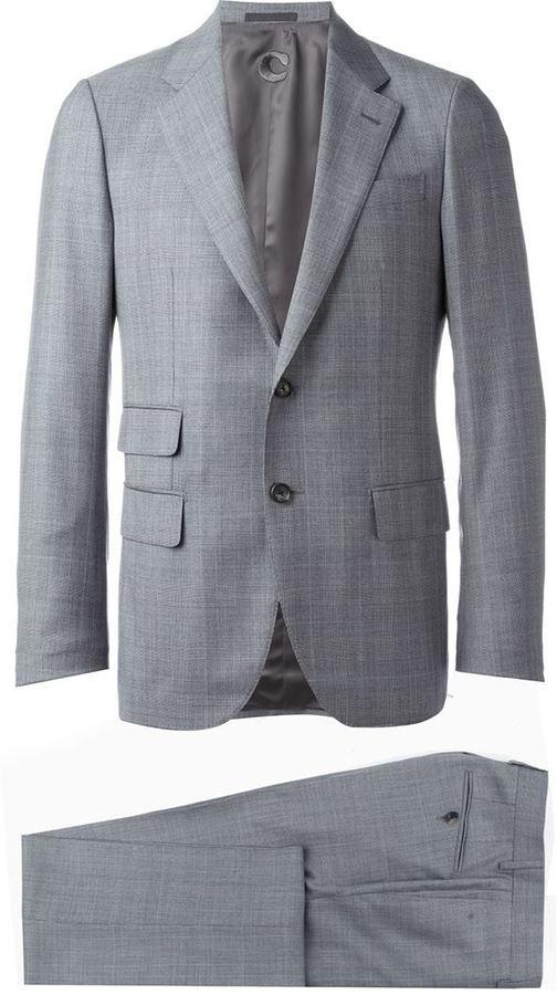 Traje de lana de tartán gris de Caruso