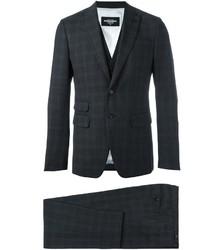 Traje de tres piezas de lana de cuadro vichy en gris oscuro de DSQUARED2