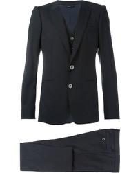 Traje de tres piezas de lana de rayas verticales negro de Dolce & Gabbana