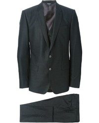 Traje de tres piezas de lana en gris oscuro de Dolce & Gabbana