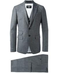 Traje de tres piezas de lana en gris oscuro de DSQUARED2