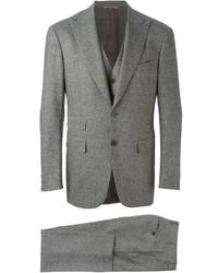Traje de tres piezas de lana gris de Canali