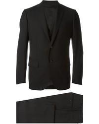 Traje de tres piezas de lana negro de Caruso