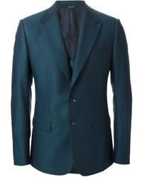 Traje de tres piezas en verde azulado de Dolce & Gabbana