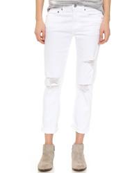 Vaqueros boyfriend desgastados blancos de AG Jeans