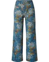 Vaqueros con print de flores azules de Kenzo