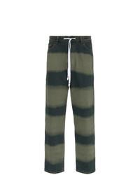 Vaqueros de rayas horizontales verde oscuro