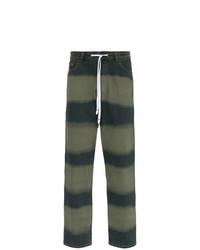 Vaqueros de rayas horizontales verde oscuro de Liam Hodges