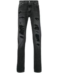Vaqueros desgastados negros de Alexander McQueen