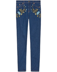 Vaqueros pitillo bordados azul marino de Gucci