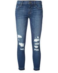 Vaqueros pitillo de algodón desgastados azules de J Brand
