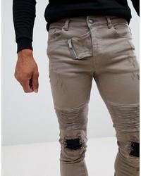 Vaqueros pitillo desgastados marrón claro de Sixth June