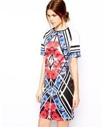 Vestido ajustado con print de flores azul de Asos