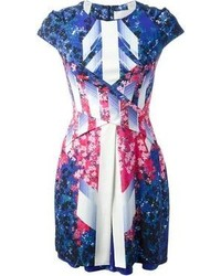 Vestido ajustado con print de flores azul de Peter Pilotto