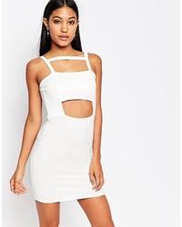 Vestido ajustado con recorte blanco de Boohoo