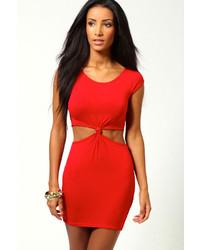 Vestido ajustado con recorte rojo