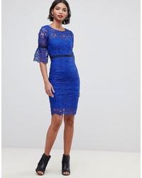 Vestido ajustado de crochet azul de Paper Dolls