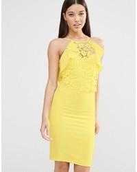 Vestido ajustado de encaje amarillo