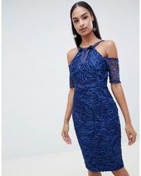Vestido ajustado de encaje azul marino de Vesper