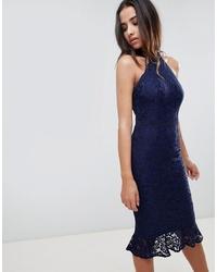 Vestido ajustado de encaje con volante azul marino de Girl In Mind