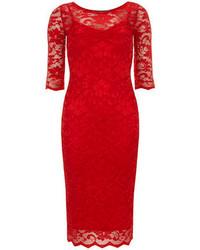 Vestido ajustado de encaje rojo