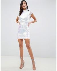 Vestido ajustado de lentejuelas plateado de ASOS DESIGN