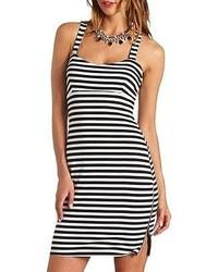 Vestido ajustado de rayas horizontales en blanco y negro