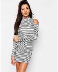 Vestido ajustado de rayas horizontales en blanco y negro de Missguided