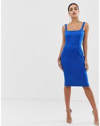 Vestido ajustado de satén azul de Vesper
