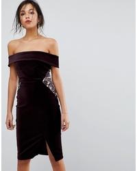 Vestido ajustado de terciopelo burdeos de Oasis