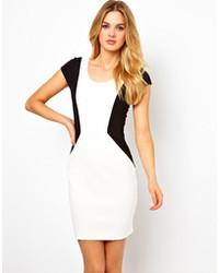 Vestido ajustado en blanco y negro original 3145317