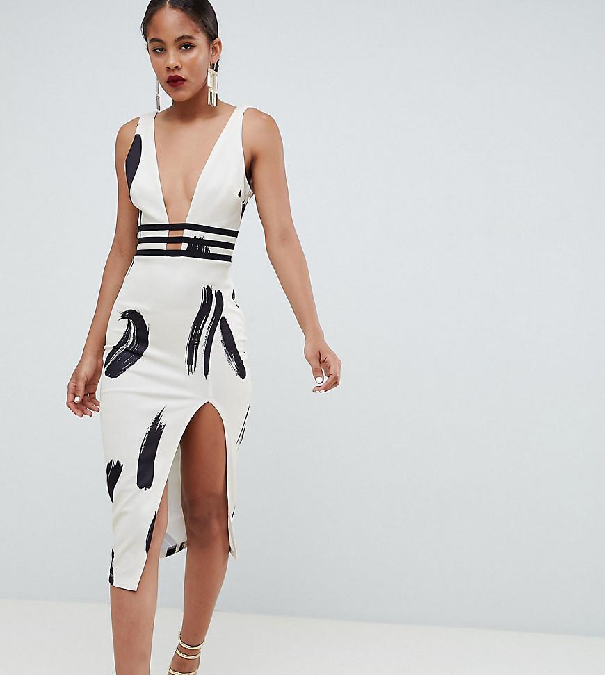 estilos de moda gran venta de liquidación gran descuento Vestido ajustado en blanco y negro de Asos Tall