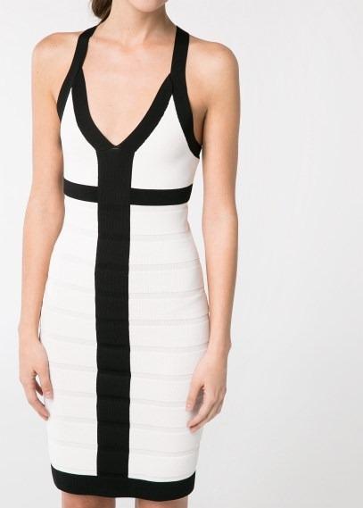 Vestido blanco y negro mango