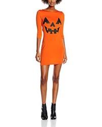 Vestido ajustado estampado naranja de Boohoo