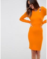 Vestido ajustado naranja de Asos