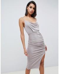 Vestido ajustado plateado de ASOS DESIGN