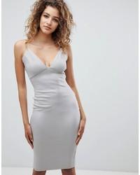 Vestido ajustado plateado de AX Paris