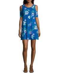 Vestido amplio con print de flores azul