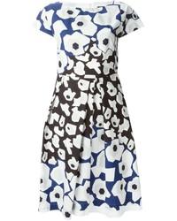 Vestido amplio con print de flores en blanco y azul marino de Jil Sander