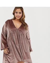 Vestido amplio de terciopelo marrón de Rokoko Plus