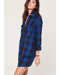 Vestido camisa a cuadros azul marino