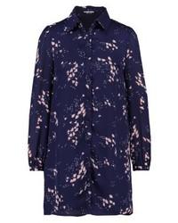 Vestido Camisa con print de flores Azul Marino de Fashion Union
