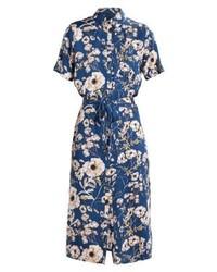 Vestido Camisa con print de flores Azul Marino de mbyM