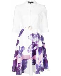 Vestido camisa con print de flores blanca de Salvatore Ferragamo