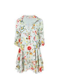 Vestido camisa con print de flores celeste de Alice + Olivia