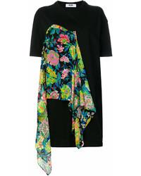 Vestido camisa con print de flores negra de MSGM
