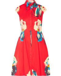 Vestido camisa con print de flores roja