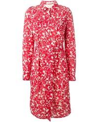 Vestido camisa con print de flores roja de Tory Burch