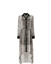 Vestido camisa con print de serpiente gris de Philipp Plein